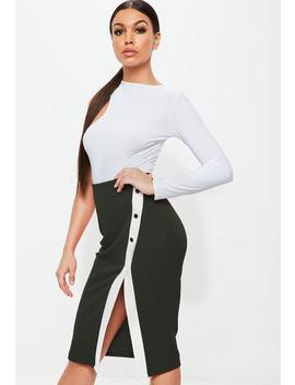 Green Crepe Popper Side Stripe Mini Skirt by Missguided