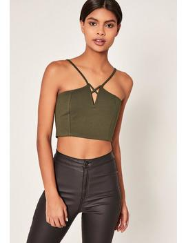 Khaki V Neck Strappy Crop Top by Missguided