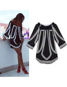 Women Sexy Off Shoulder Boho Loose Print T Shirt Beach Tops Blouse Mini Dress by Unbranded