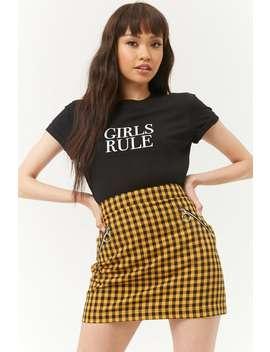 Gingham Zip Pocket Mini Skirt by Forever 21