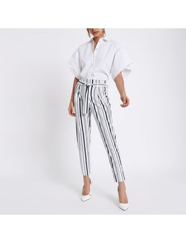 Navy Stripe Tapered Leg Trousers by River Island