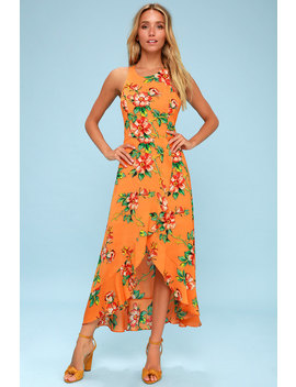 Chiquita Orange Floral Print High Low Maxi Dress by Lulu's