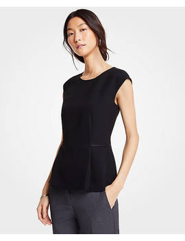 Doubleweave Cap Sleeve Top by Ann Taylor