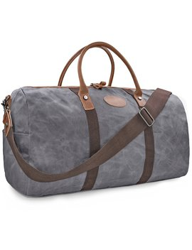 Travel Duffel Bag Waterproof Canvas Overnight Bag Leather Weekend Oversized Carryon Handbag Grey by Newhey