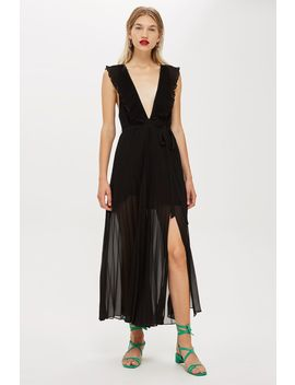 ruffle-pleat-plunge-dress by topshop