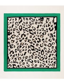 Green Leopard Border Print Scarf by New Look