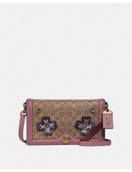 Riley Crossbody In Signature Canvas With Leather Sequin Applique by Coach