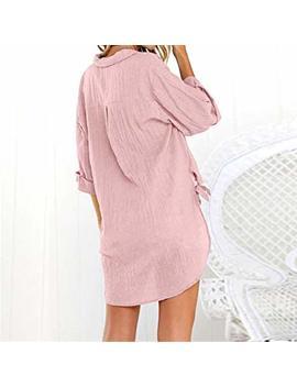 Vjgoal Womens Summer Loose Button Long Shirt Dress Cotton Ladies Casual Tops T Shirt Blouse by Amazon