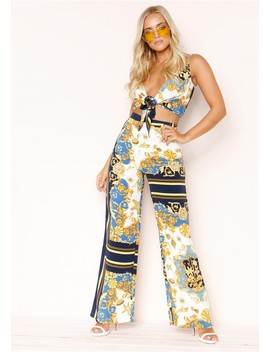 Monica Blue Scarf Print Co Ord Set by Missy Empire