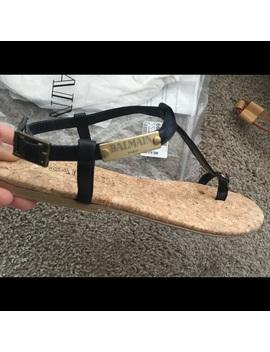 Balmain Leather T Strap SandalNwt by Balmain