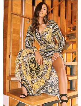 Anthea Multi Print Maxi Wrap Dress by Missy Empire