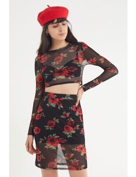 Uo Floral Mesh Mini Skirt by Urban Outfitters