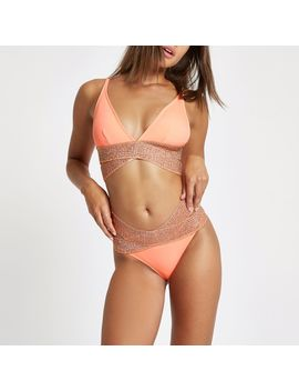 Coral Elastic High Leg Bikini Bottoms by River Island