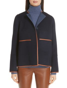 Rayen Leather Trim Reversible Jacket by Lafayette 148 New York