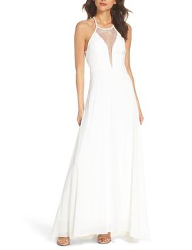 Lace Inset Halter Neck Gown by Lulus