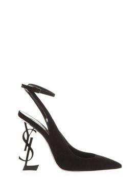 Women's Black Opyum Slingback Pumps by Saint Laurent