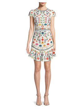 Rapunzel Curved Hem Embellished Mini Dress by Alice + Olivia