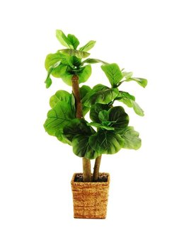 "38"" Artificial Mini Fiddle Leaf Fig Tree In A Square Basket With Faux Dirt by Designs By Lauren"