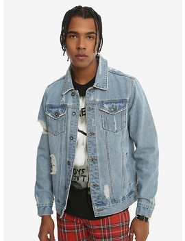Xxx Rude Light Indigo Destructed Denim Jacket by Hot Topic