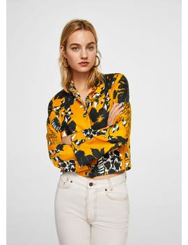 Camisa Cropped às Flores by Mango
