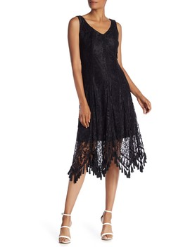 Tassel Trim Lace Midi Dress by Taylor