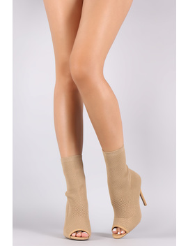 Qupid Knit Peep Toe Suede Stiletto Ankle Boots by Urbanog