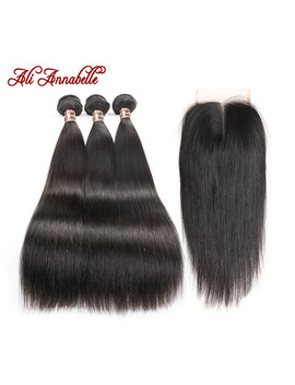Ali Annabelle Hair Brazilian Straight Hair With Middle Free Part Lace Closure Remy Human Hair Bundles 4 Pcs Pack 4*4 Lace Closure by Ali Annabelle
