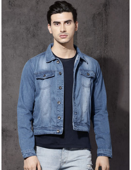 Roadster Men Blue Solid Denim Jacket by Roadster