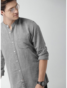 Mast & Harbour Men Grey Slim Fit Solid Casual Shirt by Mast & Harbour