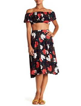 Off The Shoulder Floral Crop Top & Midi Skirt 2 Piece Set by Aakaa