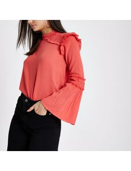 Coral Pink Frill Shoulder Bell Sleeve Blouse by River Island