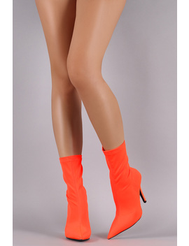 Fitted Elastane Pointy Toe Mid Calf Stiletto Boots by Urbanog