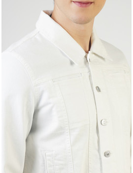 Blue Saint Men White Solid Denim Jacket by Blue Saint