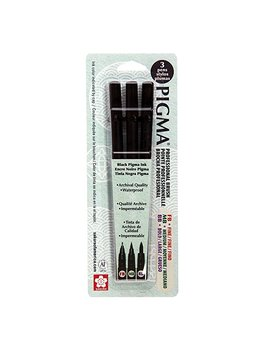 Sakura 50028 Pigma Professional Brush, Fine/Medium/Bold, Black, 3 Pack by Sakura