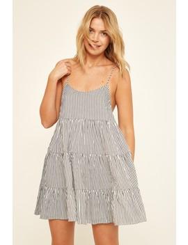 Luck & Trouble Swinging Dress Black Stripe by Universal Store