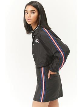 Patch Graphic Striped Trim Windbreaker by Forever 21