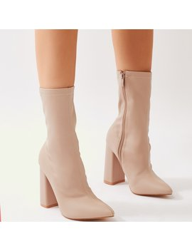 Boss Sock Fit Ankle Boots In Nude by Public Desire