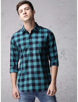 Ecko Unltd Men Navy Blue & Green Slim Fit Checked Casual Shirt by Ecko Unltd