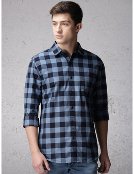 Ecko Unltd Men Blue & Grey Slim Fit Checked Casual Shirt by Ecko Unltd