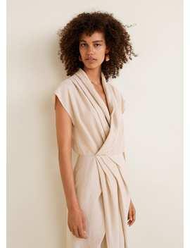 Vestido De Tecido Suave Com Decote Drapeado by Mango