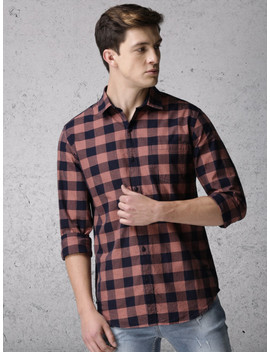 Ecko Unltd Men Navy & Brown Slim Fit Checked Casual Shirt by Ecko Unltd