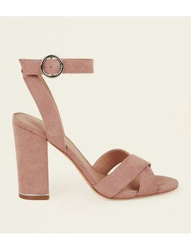 Nude Cross Strap Metal Trim Block Heels by New Look