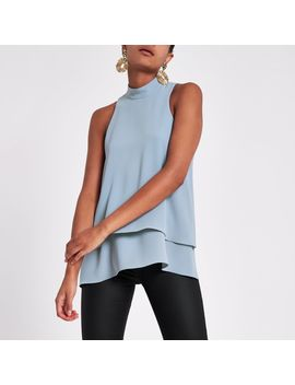 Grey Halter Neck Double Layer Blouse by River Island