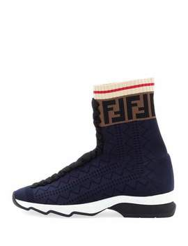 Rockoko Knit Sock Sneakers by Fendi
