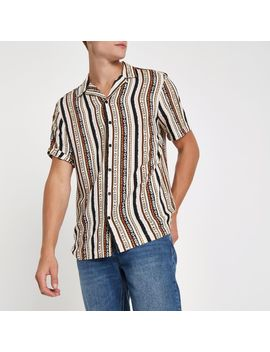 Pink Aztec Print Short Sleeve Revere Shirt by River Island