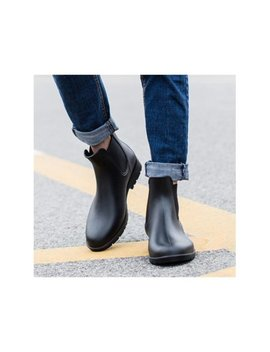 Mens Casual Chelsea Boots Ankle Punk High Top Rain Boots Shoes Outdoor Pull On by Rainboots;Waterproof Shoes
