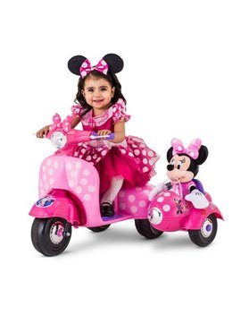 6 Volt Minnie Mouse Happy Helpers Scooter With Sidecar Ride On By Kid Trax by Kid Trax