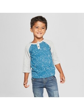 Genuine Kids® From Oshkosh Toddler Boys' 3/4 Sleeve Raglan Henley Shirt   Blue/Gray by Shop All Genuine Kids From Osh Kosh