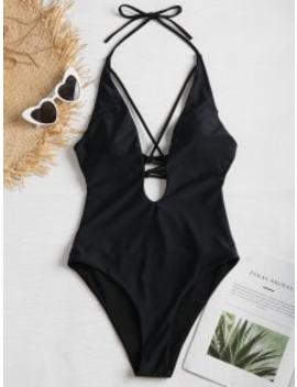 Plunge Crisscross Tied One Piece Swimwear   Black M by Zaful