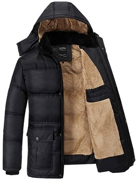 Fashciaga Men's Hooded Faux Fur Lined Quilted Winter Coats Jacket by Fashciaga